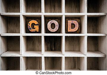 desenhar, conceito, letterpress, madeira, deus, tipo