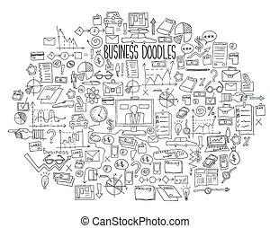 desenhar, elementos, finanças, negócio, doodle, mão,...
