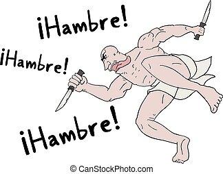 desenhar, homem, faminto, palavras, espanhol
