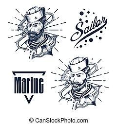 desenhar, ilustração, mão, marinheiro, vetorial, homem