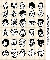 desenhar, mão, rosto