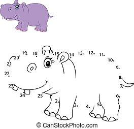 desenhar, número, animal, ligar