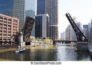 desenhar, pontes, de, chicago