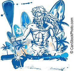 desenhar, poseidon, surfboard, poça, surfista, mão