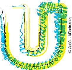 desenhar, u, font., letra, mão