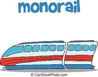 desenhar, vetorial, arte, monorail, mão