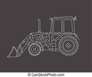 desenhar, vetorial, escavador
