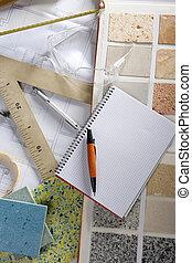 desenhista, caderno espiral, arquiteta, local trabalho, escrivaninha