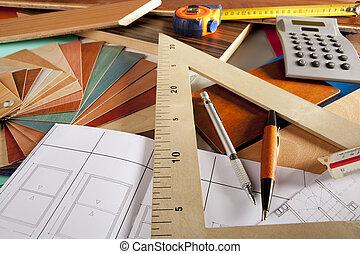 desenhista, carpinteiro, arquiteta, local trabalho, projeto interior