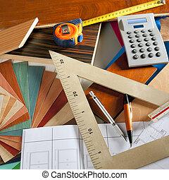desenhista, carpinteiro, arquiteta, local trabalho, projeto ...