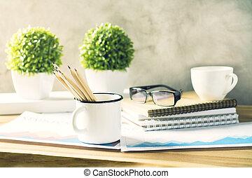 desenhista, escrivaninha, closeup