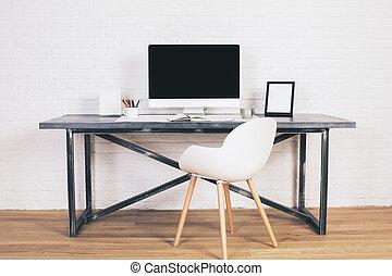 desenhista, escrivaninha, com, cadeira, frente