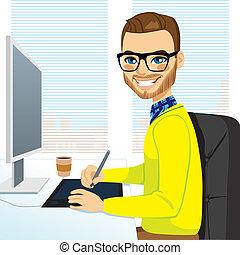 desenhista, gráfico, hipster, trabalhando, homem