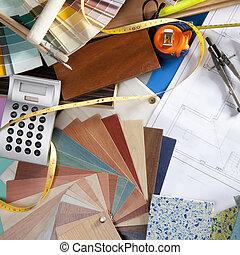 desenhista interior, arquiteta, local trabalho, escrivaninha