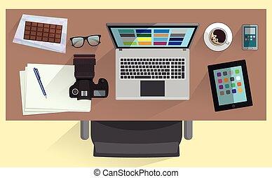 desenhista, local trabalho, ilustração