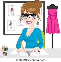 desenhista moda, desenho, esboços