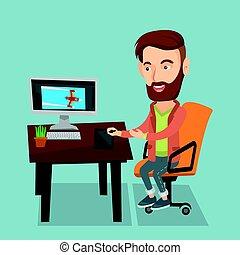 desenhista, usando, gráficos digitais, tablet.