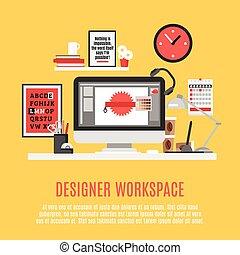 desenhista, workspace, ilustração
