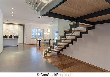 desenhistas, interior, -, escadaria