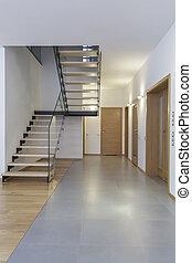 desenhistas, interior, -, escadas