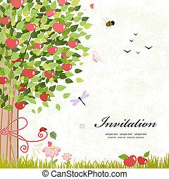 desenho, árvore, maçã, cartão