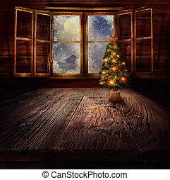 desenho, -, árvore natal