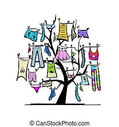 desenho, árvore roupas, guarda-roupa, seu