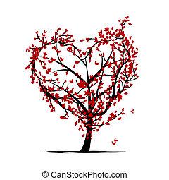 desenho, árvore, seu, amor