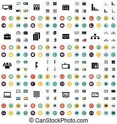 desenho, ícones escritório, jogo