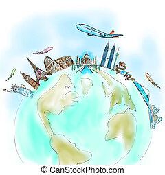desenho, a, sonho, viagem, ao redor mundo, em, um,...