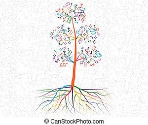 desenho, abstratos, árvore, seu, musical