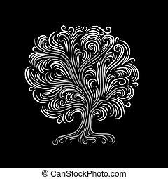 desenho, abstratos, árvore, seu, raizes