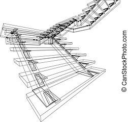 desenho, abstratos, escadas