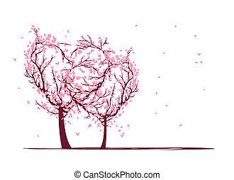 desenho, amor, seu, árvores