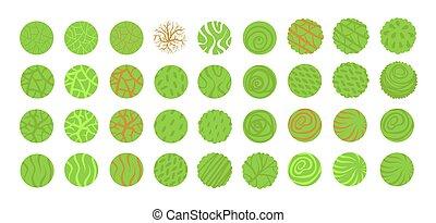 desenho, arbustos, vista, plan., vetorial, árvores, topo, paisagem, isolado, vário, branca, experiência., ilustração, arbustos