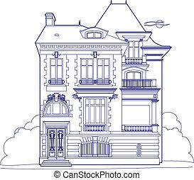 desenho, azul, mansão