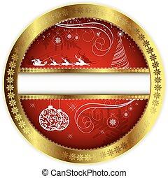 desenho, borda, natal, ouro, vermelho
