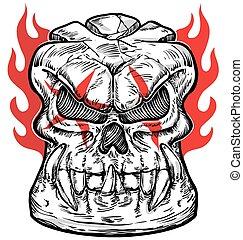 desenho, branca, esboço, cranio