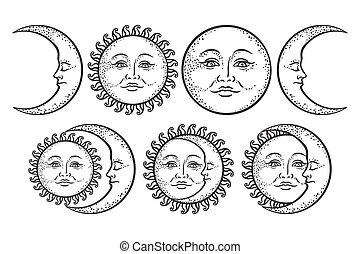 desenho, branca, tatuagem, flash, adesivo, vetorial, isolado, fundo, lua, set., arte, antigüidade, mão, sol, crescente, boho, estilo, desenhado, chique