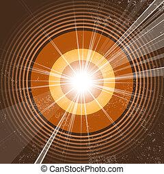 desenho, círculo, starburst, -, retro