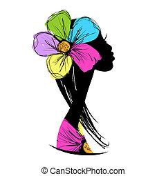 desenho, cabeça, silueta, seu, femininas