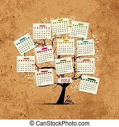 desenho, calendário, árvore, seu, 2013