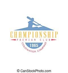 desenho, campeonato, emblema, rafting