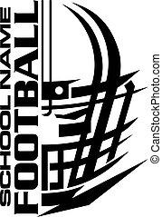 desenho, capacete futebol americano, escola, equipe, facemask