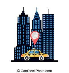 desenho, car, vetorial, gps, marca, táxi