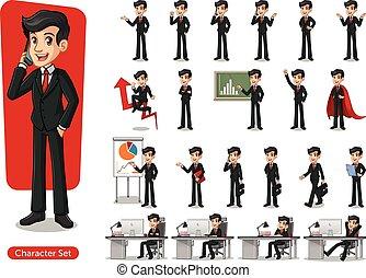 desenho, caricatura, paleto, jogo, desgastar, homem negócios, personagem