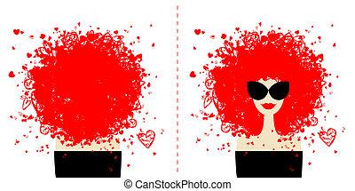 desenho, cartão, com, moda, retrato mulher