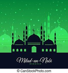 desenho, cartão, milad, festival, eid, nabi, onu, verde
