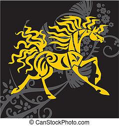 desenho, cavalo, vetorial, -, ilustração