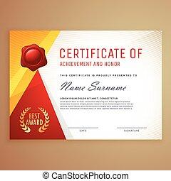 desenho, certificado, modernos, modelo
